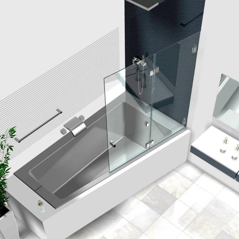 duschwand badewanne badewannenaufsaetze aus glas glasduschen
