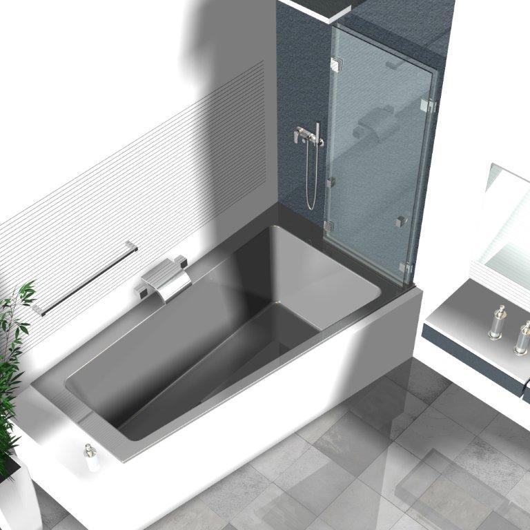 Duschwand Badewanne, Badewannenaufsätze aus Glas, Glasduschen