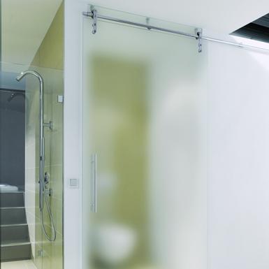 PS 100 Schiebetürbeschlag mit satinierter Glastür
