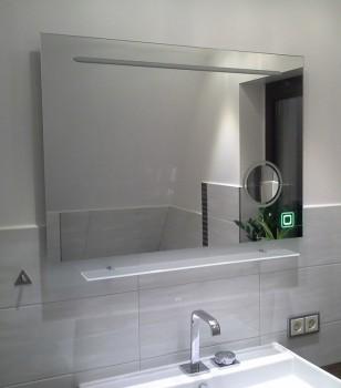 Modell 00-08 - Badspiegel mit Kosmetikspiegel - Sensortaster grün beleuchtet