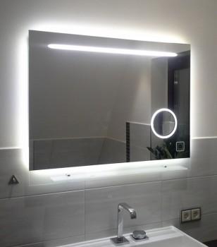 Modell 00-08 - Badspiegel mit Kosmetikspiegel - Sensortaster betätigt - Beleuchtung an