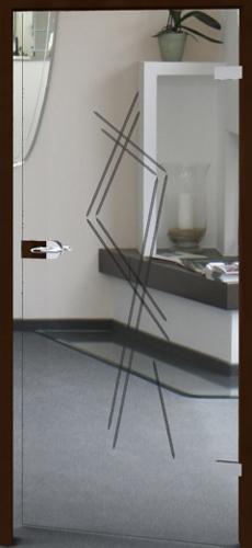Glastür mit Rillenschliff