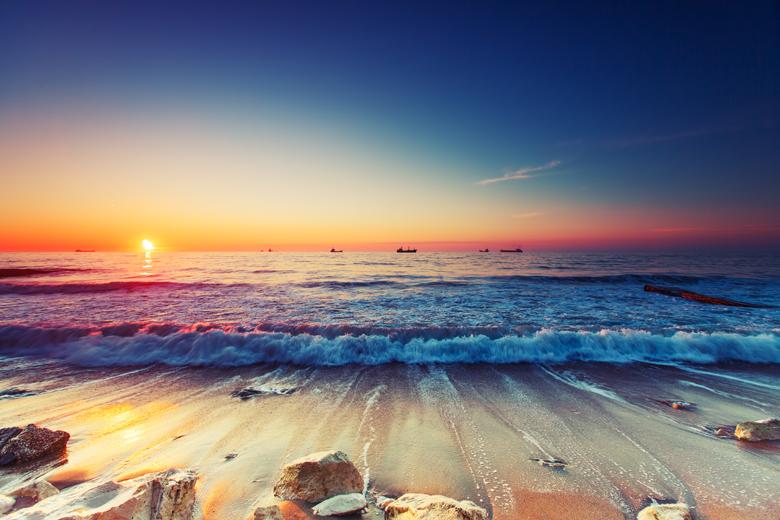 Glasrückwand - Meerblick mit Sonnenuntergang