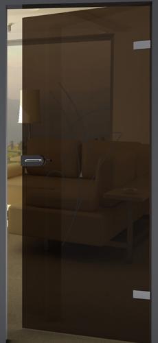 farbige Glastür mit Schliff