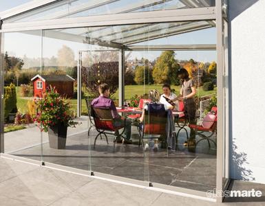 Schiebetüren aus Glas für Terrasse