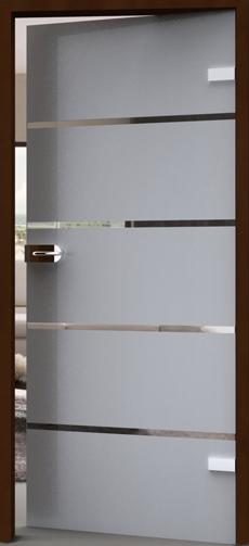 Streifen auf satinierter Glastür